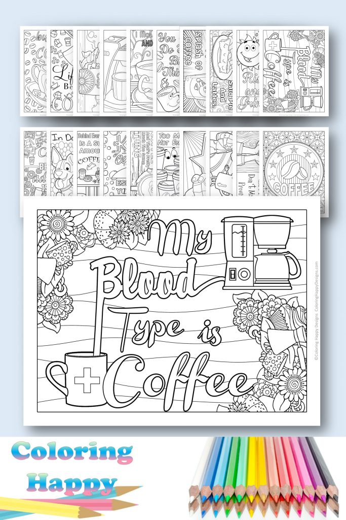 My blood type is coffee coloring page