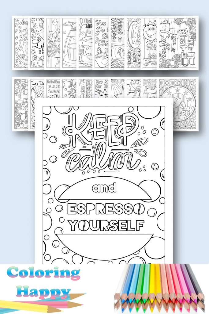 Keep calm and espresso yourself - coffee coloring page