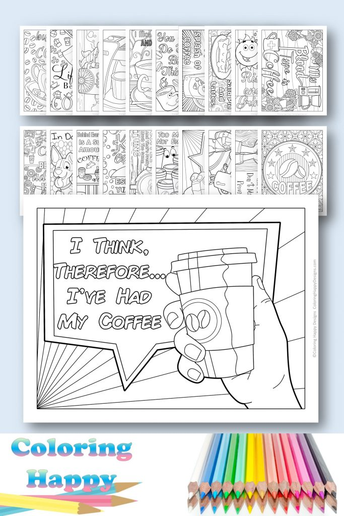 I think...therefore I've had my coffee - printable coloring pages