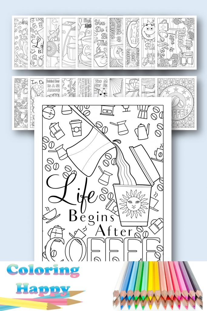 20 coloring pages for coffee lovers