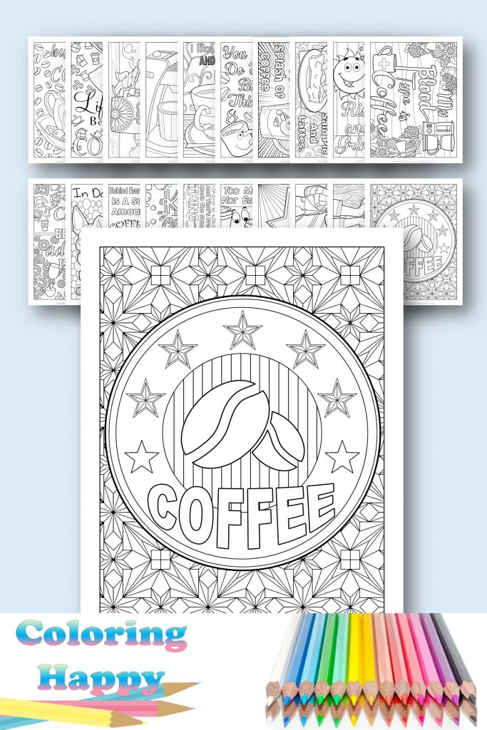 Coffee printable coloring page
