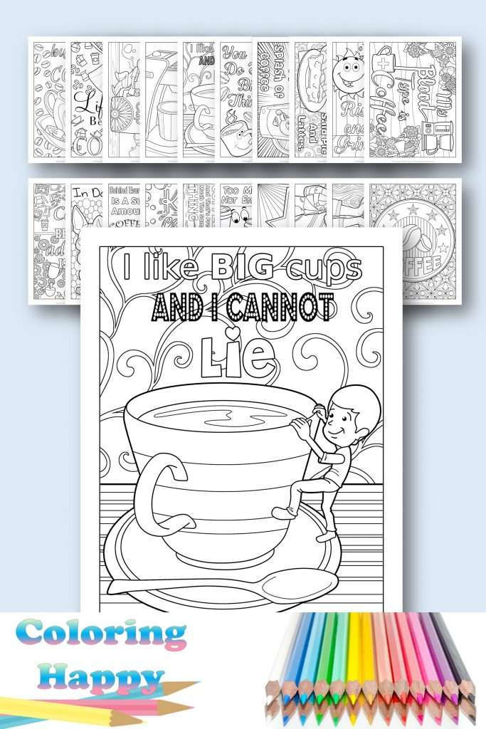 Relieve stress coffee coloring pages