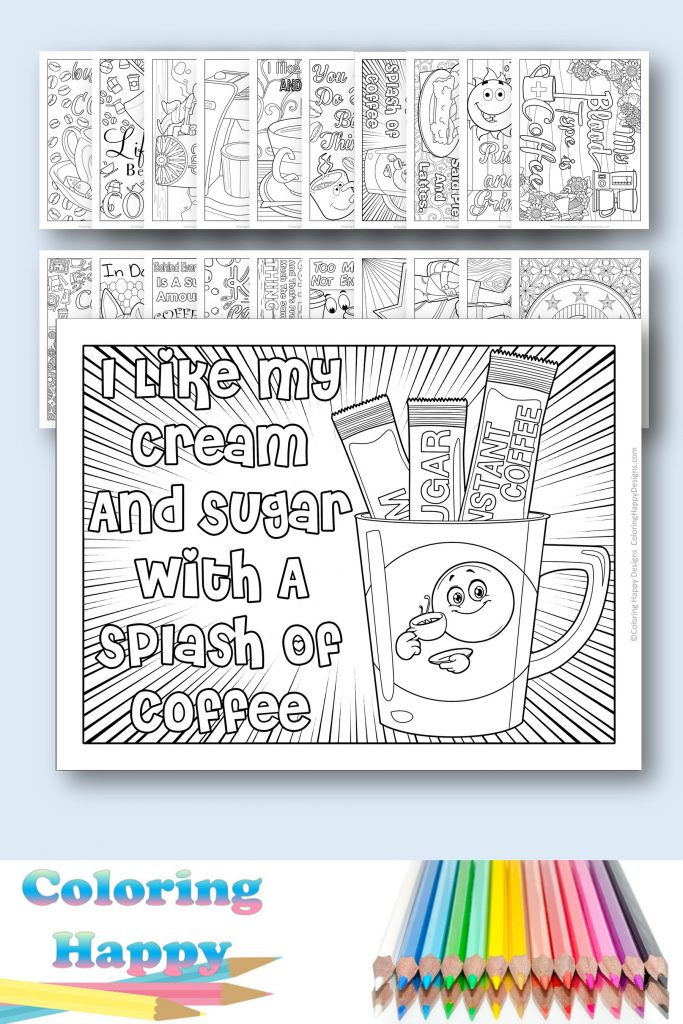 20 coffee coloring pages