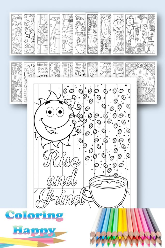 Rise and shine - coffee coloring page